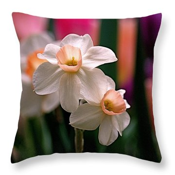 Narcissus And Tulips Throw Pillow