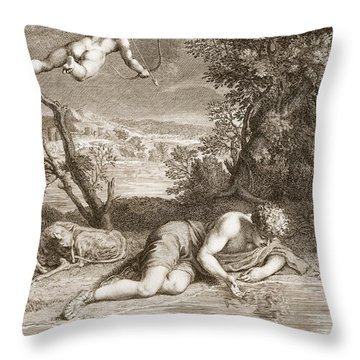 Narcissus Transformed Into A Flower Throw Pillow