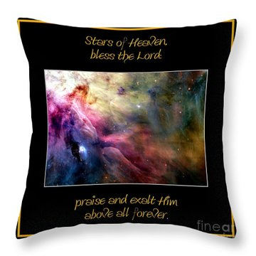Throw Pillow featuring the photograph Nasa Ll Ori And The Orion Nebula Stars Of Heaven Bless The Lord by Rose Santuci-Sofranko
