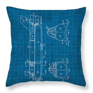Nasa Space Shuttle Vintage Patent Diagram Blueprint Throw Pillow by Design Turnpike