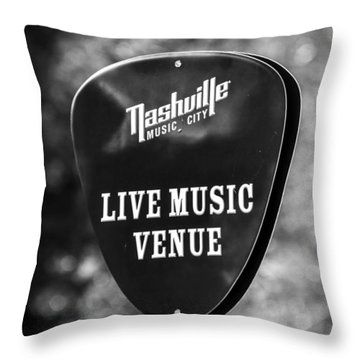 Nashville Music City Sign Throw Pillow by Debbie Green