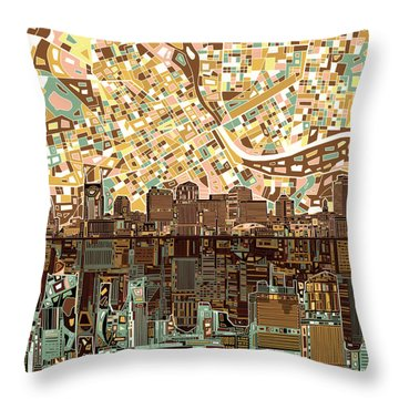 Nashville Skyline Abstract 4 Throw Pillow