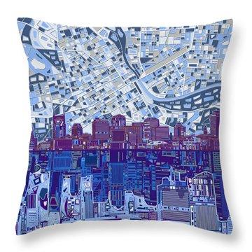 Nashville Skyline Abstract 8 Throw Pillow