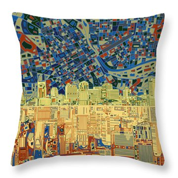 Nashville Skyline Abstract 9 Throw Pillow