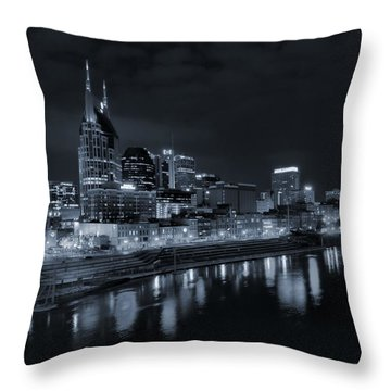Nashville Skyline At Night Throw Pillow by Dan Sproul