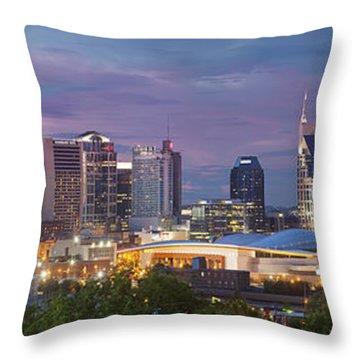 Nashville Skyline Throw Pillow by Brian Jannsen