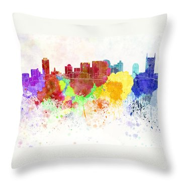 Nashville Skyline In Watercolor Background Throw Pillow by Pablo Romero