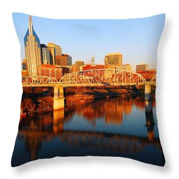 Nashville Skyline Throw Pillow by James Kirkikis