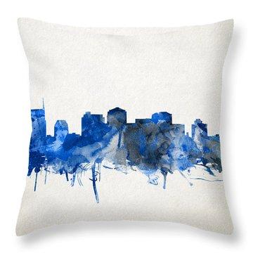 Nashville Skyline Watercolor 11 Throw Pillow