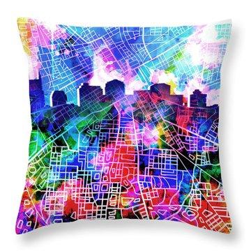 Nashville Skyline Watercolor 5 Throw Pillow