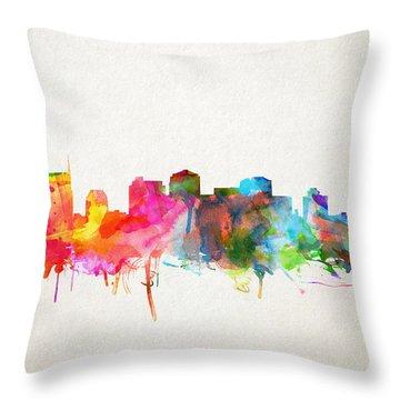 Nashville Skyline Watercolor 9 Throw Pillow