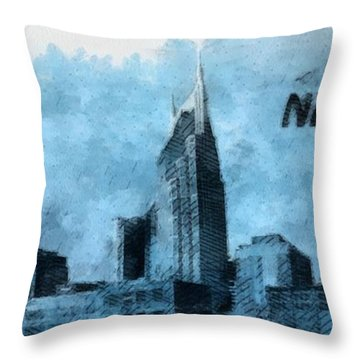 Nashville Tennessee In Blue Throw Pillow by Dan Sproul