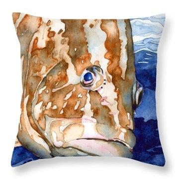 Nassau Grouper Portrait Throw Pillow