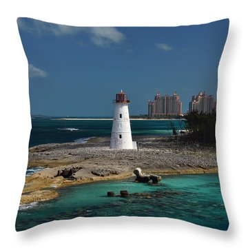 Throw Pillow featuring the photograph Nassau Harbour Lighthouse by Bill Swartwout