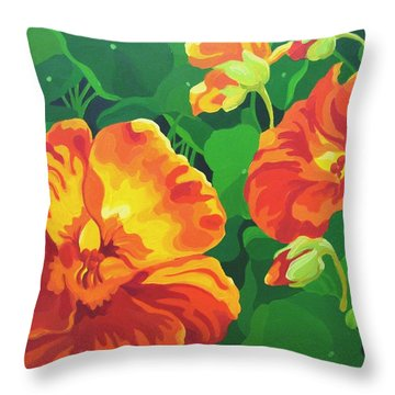 Throw Pillow featuring the painting Nasturtiums by Karen Ilari
