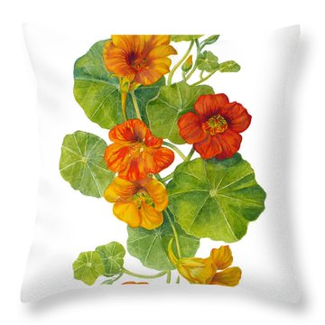 Nasturtiums - Tropaeolum Majus  Throw Pillow