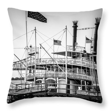 Natchez Steamboat In New Orleans Black And White Picture Throw Pillow by Paul Velgos