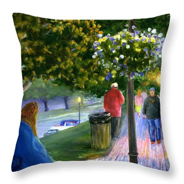 Natchitoches Front Street Cane River Throw Pillow by Lenora  De Lude