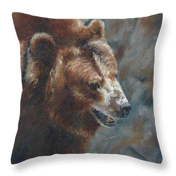 Nate - The Bear Throw Pillow by Lori Brackett