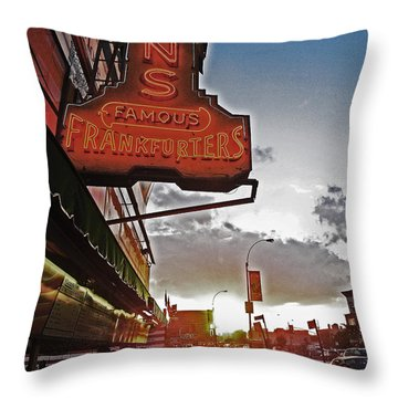 Throw Pillow featuring the photograph Nathan's Famous Coney Island Sunset Frankfurters by Andy Prendy