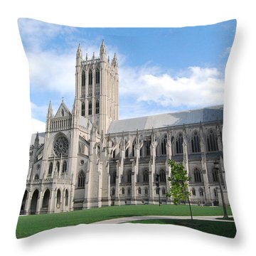 National Cathedral Throw Pillow by Rod Flasch