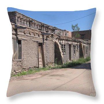 Throw Pillow featuring the photograph Native American Adobe Pueblo by Dora Sofia Caputo Photographic Art and Design
