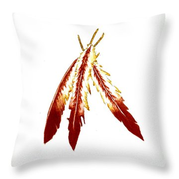 Native American Feathers  Throw Pillow