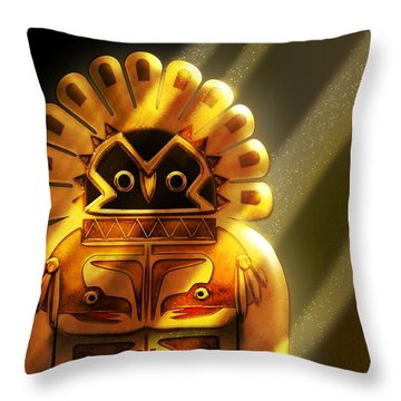 Native American Hawk Spirit Gold Idol Throw Pillow