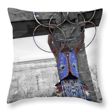 Native American Healing Hoops 40 Throw Pillow