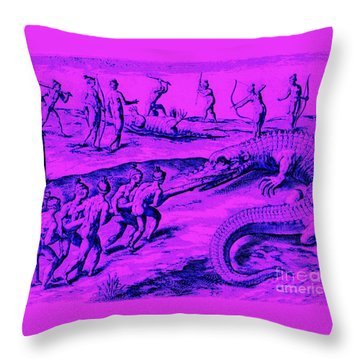 Throw Pillow featuring the drawing Native American Indian Alligator Hunt by Peter Gumaer Ogden