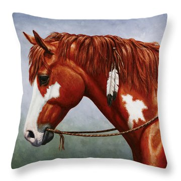 Native American Pinto Horse Throw Pillow by Crista Forest