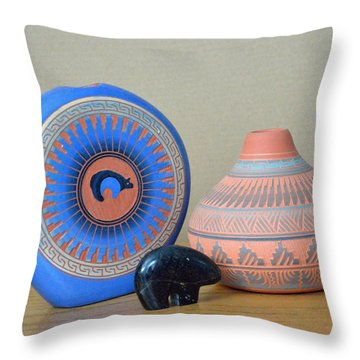 Native American Pottery Throw Pillow by Lena Wilhite