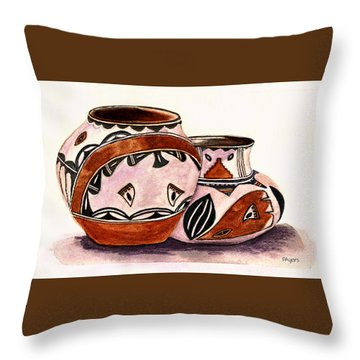Throw Pillow featuring the painting Native American Pottery by Paula Ayers