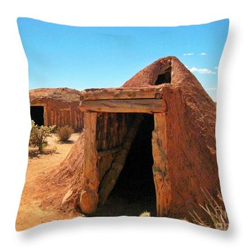 Native American Shelters Throw Pillow by John Malone
