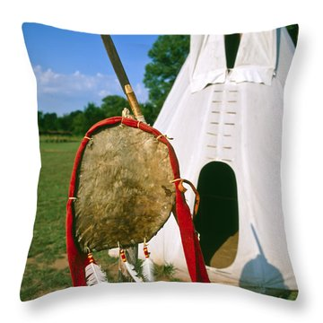 Native American Shield And Spear Throw Pillow