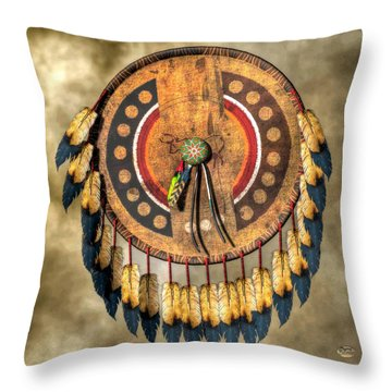 Native American Shield Throw Pillow
