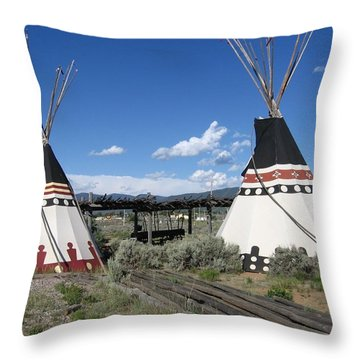 Throw Pillow featuring the photograph Native American Teepees by Dora Sofia Caputo Photographic Art and Design