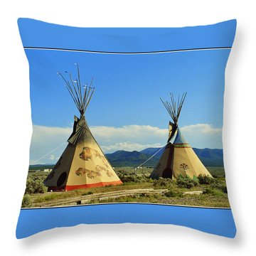 Native American Teepees  Throw Pillow