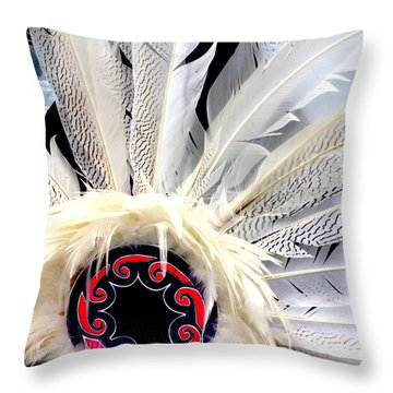Native American White Feathers Headdress Throw Pillow
