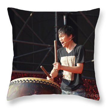 Native Drummer Performs In Taiwan Throw Pillow by Yali Shi