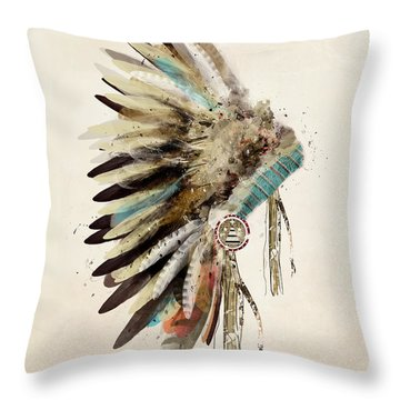 Native Headdress Throw Pillow