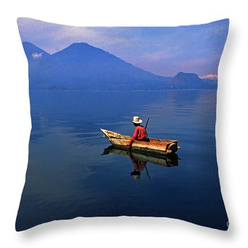 Native Mayan Fisherman On Lake Atitlan Throw Pillow by Thomas R Fletcher