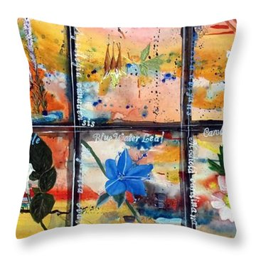 native Texas wildflowers B Throw Pillow by Michael Dillon