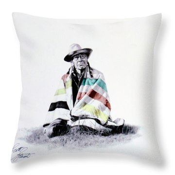Native West Coast Indian Throw Pillow by Al Bourassa