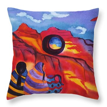 Native Women At Window Rock Throw Pillow