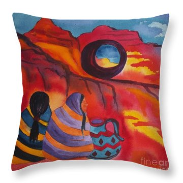 Native Women At Window Rock Square Throw Pillow