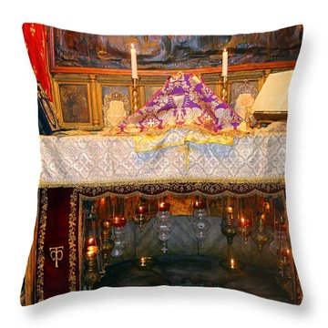 Nativity Grotto Throw Pillow by Munir Alawi