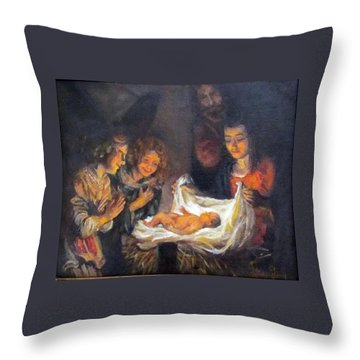 Throw Pillow featuring the painting Nativity Scene Study by Donna Tucker