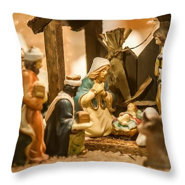 Throw Pillow featuring the photograph Nativity Set by Alex Grichenko