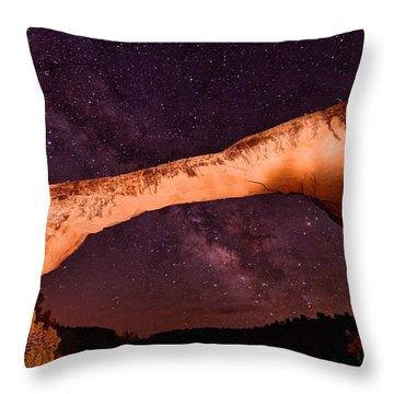 Natural Bridges Utah Cedar Mesa Colorado Plateau Owachomo Bridge And The Milky Way Throw Pillow